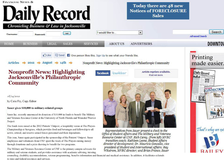 2012-08-14 daily_record_sauer-gives-to-military-for-web